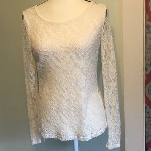 The LIMITED Creme sheer lace top